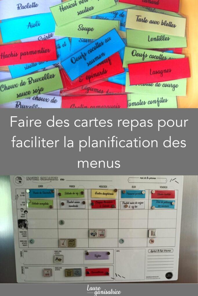 Faire des cartes repas pour faciliter la planification des menus